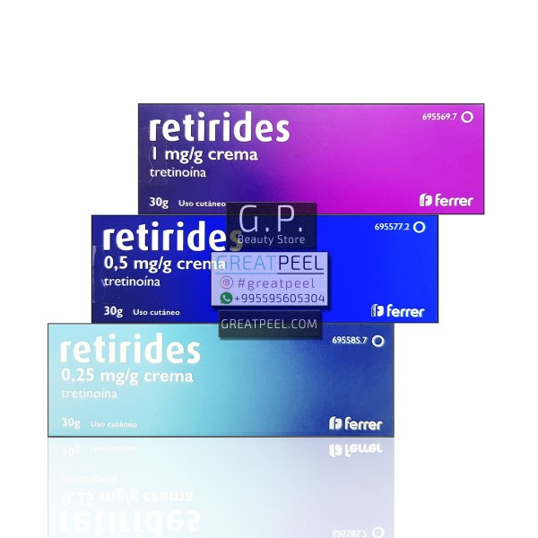 RETIRIDES TRETINOIN CREAM ANTI-ACNE 0.025% (0.25 mg/g) / 0.05% (0.5 mg/g) / 0.1% (1 mg/g) | 30g/1.06oz